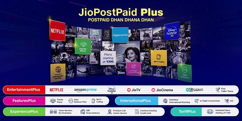Recharge with ₹ 399 and get Netflix, Amazon Prime, Disney+ Hotstar VIP subscription for free – Reliance Jio new Dhan Dhana Dhan PostPaid Plus Recharge Plan-preview image