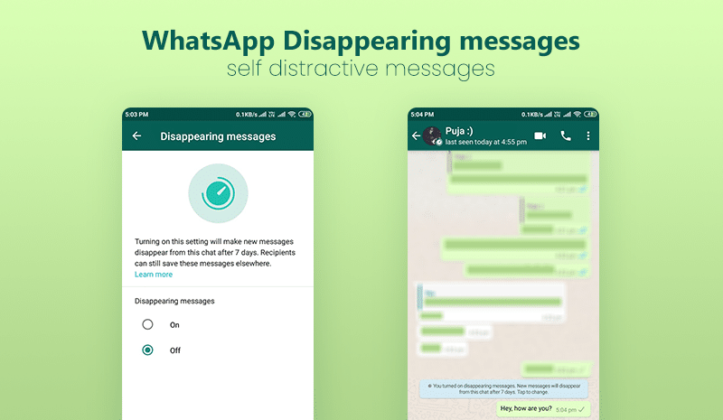 WhatsApp Disappearing messages or self distractive messages