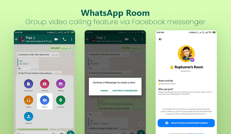 WhatsApp room - group video calling feature